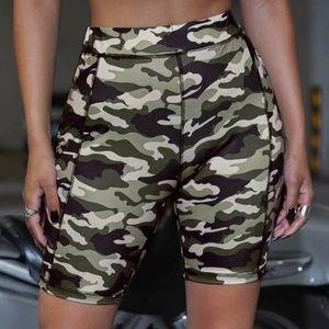 Pants - camo biker shorts